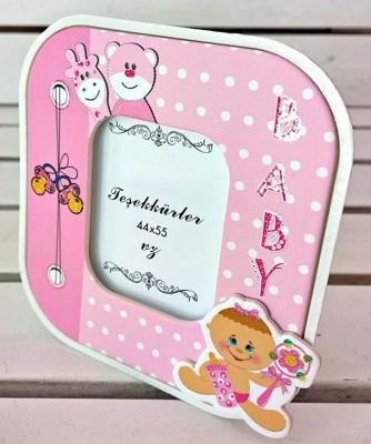 Diğer - 15li Baby Shower İçin Hediyelik Masa Tipi Fotoğraf Çerçevesi Pembe