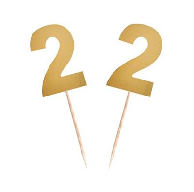 Diğer - 15li Parlak 2 Rakamı Parti Kürdanı Gold