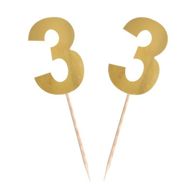 Diğer - 15li Parlak 3 Rakamı Parti Kürdanı Gold