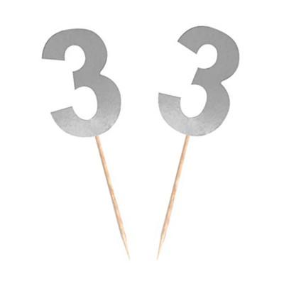 Diğer - 15li Parlak 3 Rakamı Parti Kürdanı Gümüş