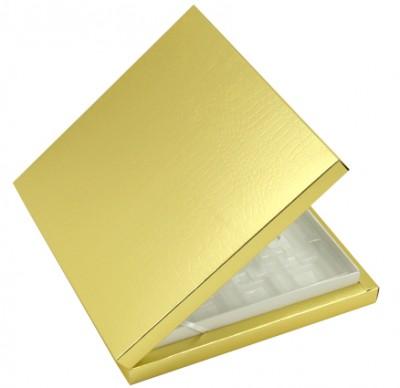 Diğer - 16 Bölmeli Desenli Düz Renk Madlen Karton Çikolata Sunum Kutusu Gold