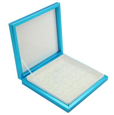 Diğer - 16 Bölmeli Desenli Düz Renk Madlen Karton Çikolata Sunum Kutusu Mavi
