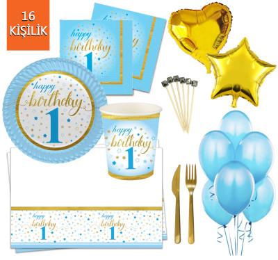 Diğer - 16 Kişilik Küçük Yıldızlar 1 Yaş Doğum Günü Parti Seti 145 Parça Mavi