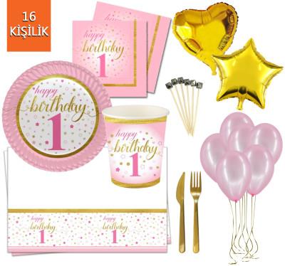 Diğer - 16 Kişilik Küçük Yıldızlar 1 Yaş Doğum Günü Parti Seti 145 Parça Pembe