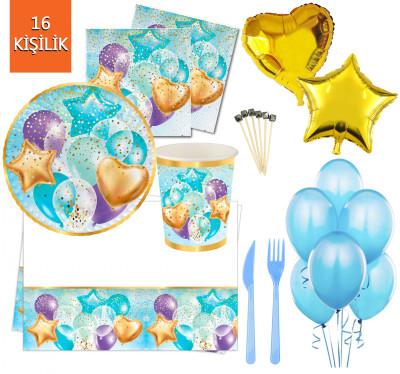 Diğer - 16 Kişilik Uçan Balonlar Işıltılı Doğum Günü Parti Seti 145 Parça Mavi