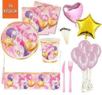 16 Kişilik Uçan Balonlar Işıltılı Doğum Günü Parti Seti 145 Parça Pembe
