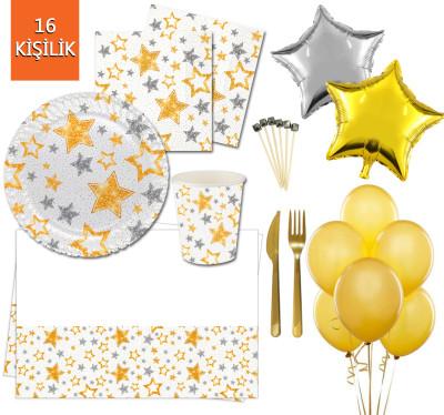 Diğer - 16 Kişilik Yıldız Desenli Işıltılı Doğum Günü Parti Seti 145 Parça Beyaz