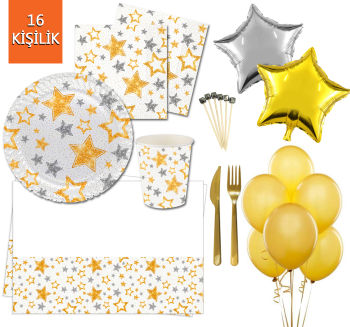 16 Kişilik Yıldız Desenli Işıltılı Doğum Günü Parti Seti 145 Parça Beyaz