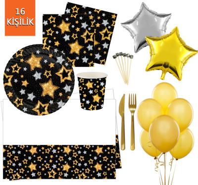 Diğer - 16 Kişilik Yıldız Desenli Işıltılı Doğum Günü Parti Seti 145 Parça Siyah