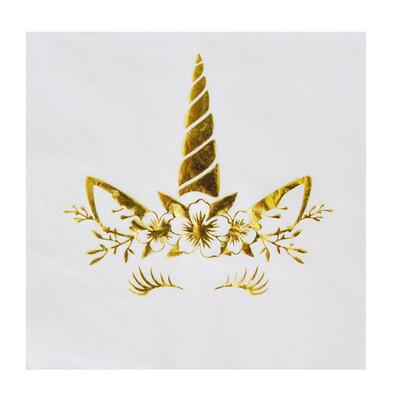 Diğer - 16lı Unicorn Temalı Çift Katlı Parti Peçetesi Gold