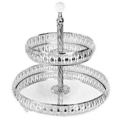 Diğer - 2 Katlı Aynalı Meltem Jardinyer Kurabiyelik ve İkramlık Gümüş
