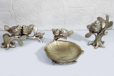 Diğer - 2 Kuş Figürlü ve Tabaklı Biblo Gümüş