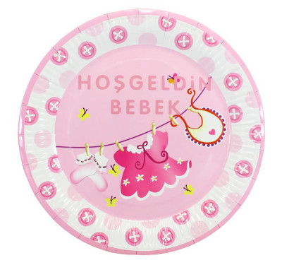 20 Kişilik Hoşgeldin Bebek Baby Shower Parti Seti 137 Parça Pembe - Thumbnail