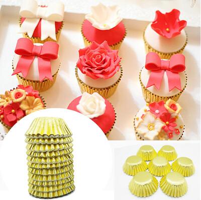 200lü Metalize Mini Çikolata ve Cupcake Kalıbı Gold 3,5cm - Thumbnail