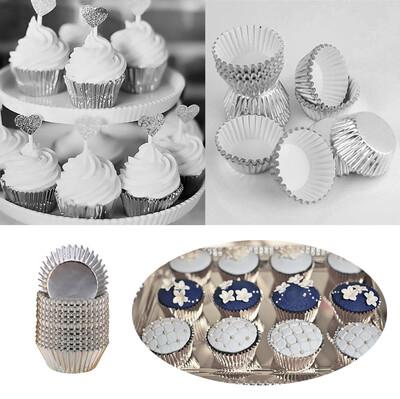 Diğer - 200lü Metalize Mini Çikolata ve Cupcake Kalıbı Gümüş 3,5cm