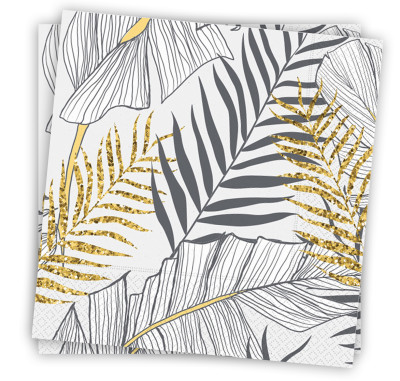 Diğer - 20li Altın Simli Yapraklar Kullan At Kağıt Peçete Beyaz