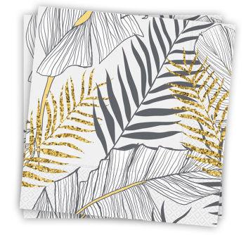 20li Altın Simli Yapraklar Kullan At Kağıt Peçete Beyaz