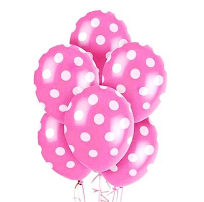 Diğer - 20li Beyaz Puantiyeli Pembe Parti Balonları