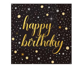 20li Işıltılı Görünen Happy Birthday Çift Katlı Kağıt Peçete