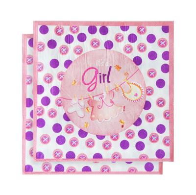 Diğer - 20li Its A Girl Yazılı Kağıt Peçete Pembe