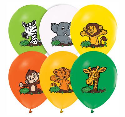 Diğer - 20li Karışık Safari Hayvanları Süsleme ve Parti Balonu