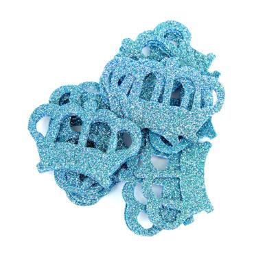 Diğer - 20li Kral Tacı Logolu Simli Eva Süsleme Malzemesi 6cm Mavi
