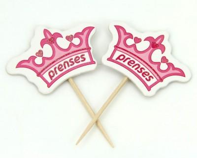 Diğer - 20li Kraliçe Taçlı Prenses Yazılı Baby Shower Parti Kürdanı Pembe