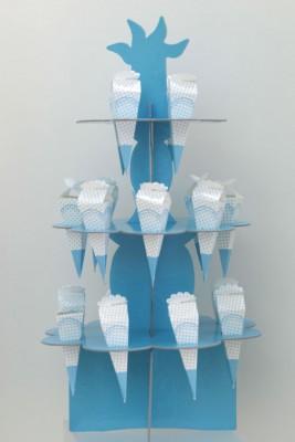 Diğer - 20li Külahlı 3lü Cupcake Standı Mavi