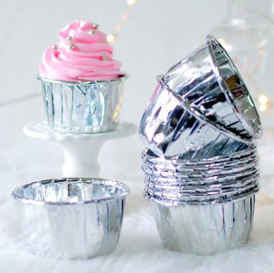 Diğer - 20li Metalik Folyo Cupcake Kalıbı Gümüş