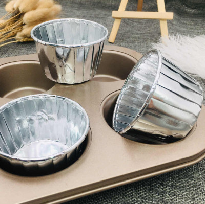 20li Metalik Folyo Cupcake Kalıbı Gümüş - Thumbnail