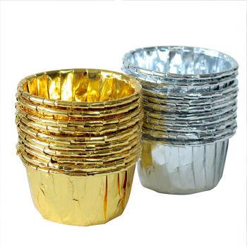 20li Metalik Folyo Cupcake Kalıbı Gümüş