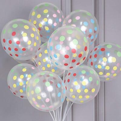 20li Renkli Puantiyeli Parti Balonu Şeffaf - Thumbnail