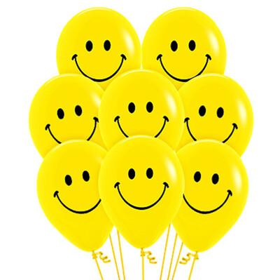Diğer - 20li Sarı Renk Gülen Yüz Smile Parti Balonu