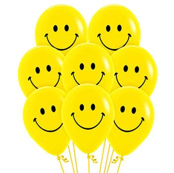 20li Sarı Renk Gülen Yüz Smile Parti Balonu