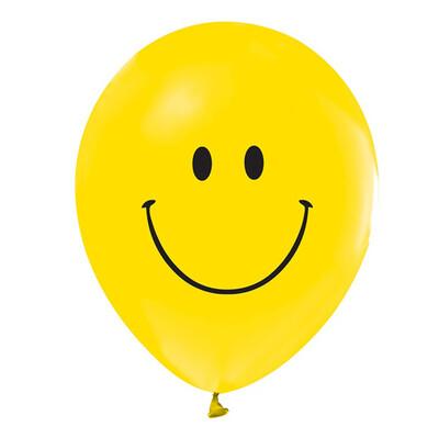 20li Sarı Renk Gülen Yüz Smile Parti Balonu - Thumbnail