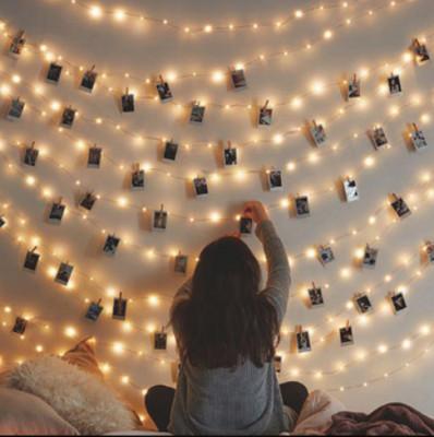 Diğer - 20li Sıralı Işıklı Fotoğraf Asma Mandalları