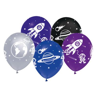 20li Uzay Temalı Süsleme ve Parti Balonu Karışık - Thumbnail
