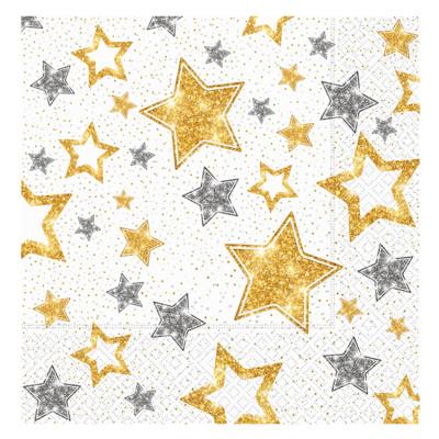 Diğer - 20li Yıldız Desenli Işıltılı Çift Katlı Kağıt Parti Peçetesi Beyaz