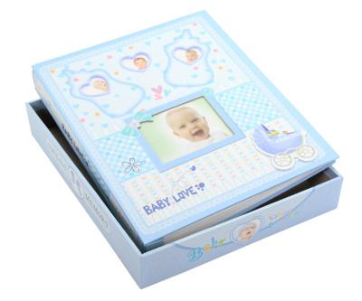 Diğer - 220 Fotoğraflı 4 Çerçeveli Erkek Bebek Albümü Mavi