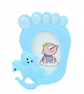 Diğer - 24lü Bebek Ayağı Tasarımlı Mini Fotoğraf Çerçevesi Mavi