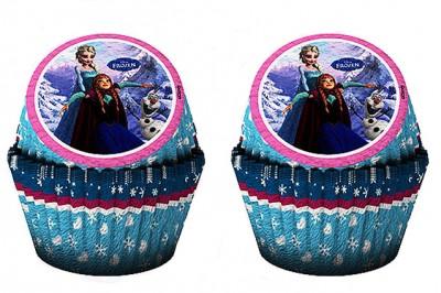 Diğer - 24lü Disney Frozen Ice Skating Kağıt Cupcake ve Muffin Kek Kalıbı