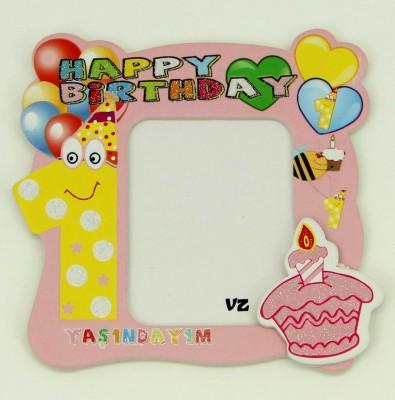 Diğer - 25li 1 Yaş Günü Temalı Hediyelik Magnet Fotoğraf Çerçevesi Pembe