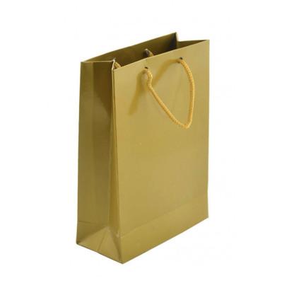 Diğer - 25li Düz Renk Karton Hediyelik Şeker Çantası Gold 11x17cm