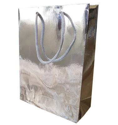 Diğer - 25li Düz Renk Metalize Karton Hediyelik Şeker Çantası Gümüş 17x26x6,5cm