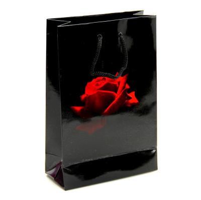 Diğer - 25li Kırmızı Gül Desenli Selefonlu Karton Çanta Siyah 17x11cm