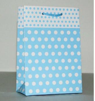 25li Puantiye Desenli Hediyelik Karton Çanta Mavi 12x17x6cm