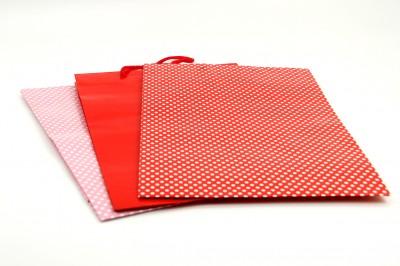 25li Puantiyeli Tutma İpli Hediyelik Karton Çanta Kırmızı 26X38cm - Thumbnail