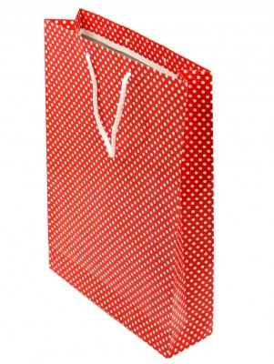Diğer - 25li Puantiyeli Tutma İpli Hediyelik Karton Çanta Kırmızı 26X38cm