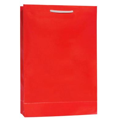 Diğer - 25li Tutma İpli Düz Renk Hediyelik Karton Çanta Kırmızı 17x26x6,5cm