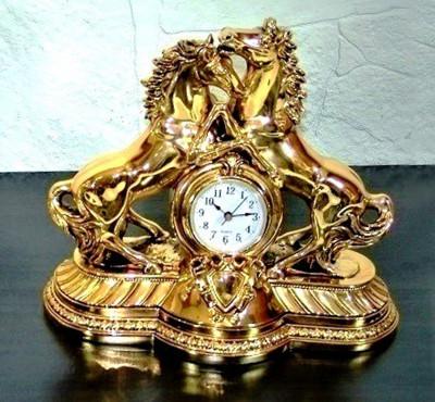Diğer - 2li At Figürlü Masa Saati Kaplama Altın Renkli